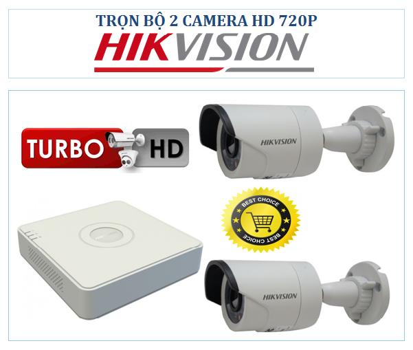 Trọn bộ 2 Camera Hikvision HD-TVI 720P
