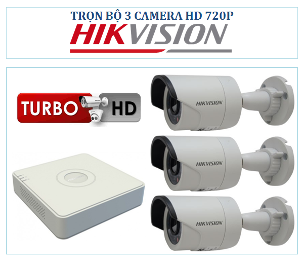Trọn bộ 3 Camera Hikvision HD-TVI 720P